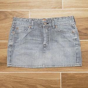 7 For All Mankind striped denim mini skirt
